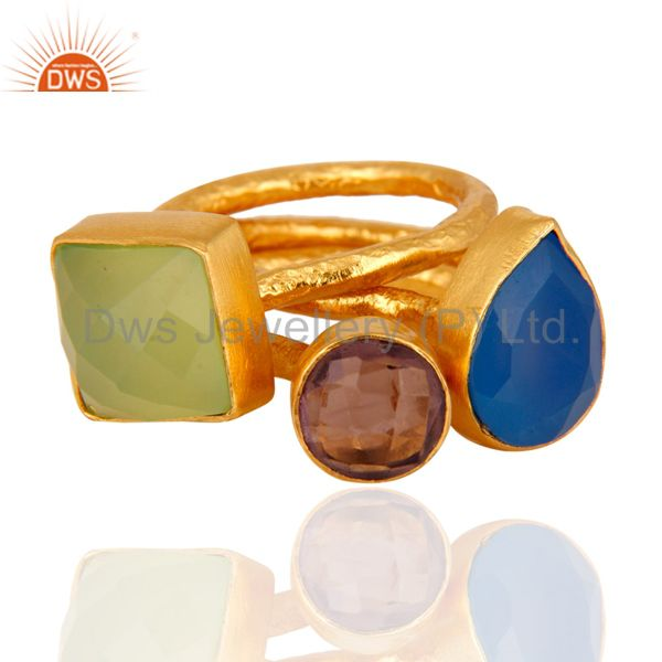 Best Selling Aqua Blue Chalcedony And Hydro Amethyst 22K Gold Plated Hammered Band Ring