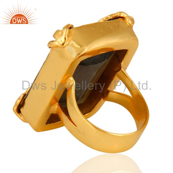 Top Quality Natural Faceted Labradorite Gemstone 18K Yellow Gold Plated Statement Ring