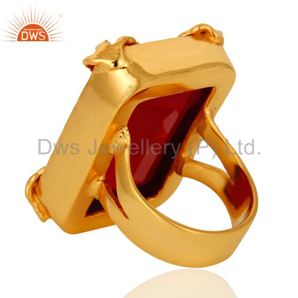 Best Quality 18K Yellow Gold Plated Dyed Pink Chalcedony Gemstone Ring