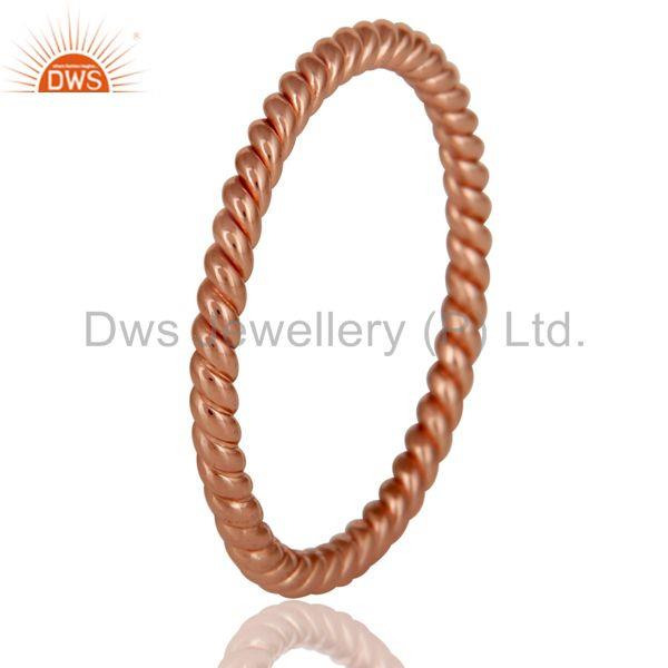 Best Quality 22K Rose Gold Plated 925 Sterling Silver Handmade Art Deco Band Ring Jewellery