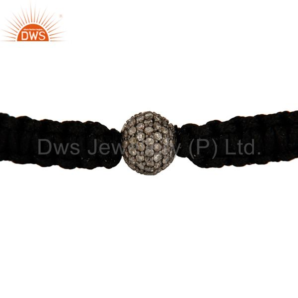 Indian Manufacturer of 925 Sterling Silver Diamond Pave Beads Macrame Bracelet Fashion Jewelry