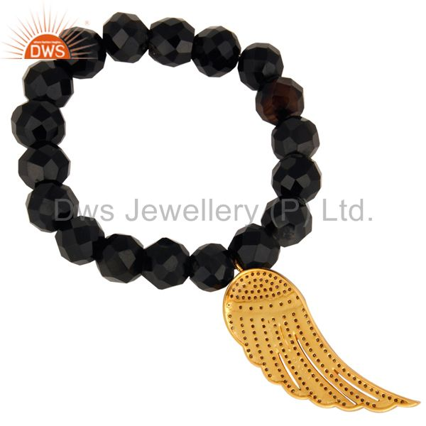 Indian Manufacturer of Black Onyx 925 Silver Pave Diamond Feather Angel Wings Charm Designer Bracelet