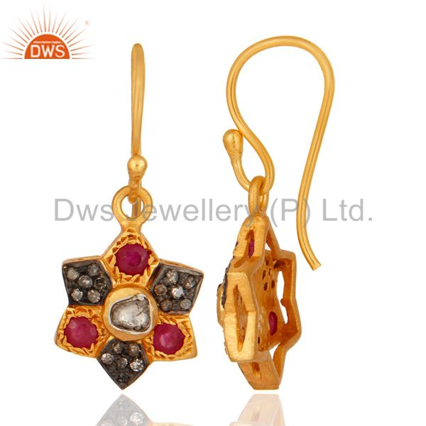18K Yellow Gold Over 925 Sterling Silver Rose Cut Diamond Ruby Gemstone Earring From Jaipur India