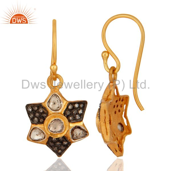18K Yellow Gold Plated 925 Sterling Silver Rose Cut Diamond Designer Earring From Jaipur India