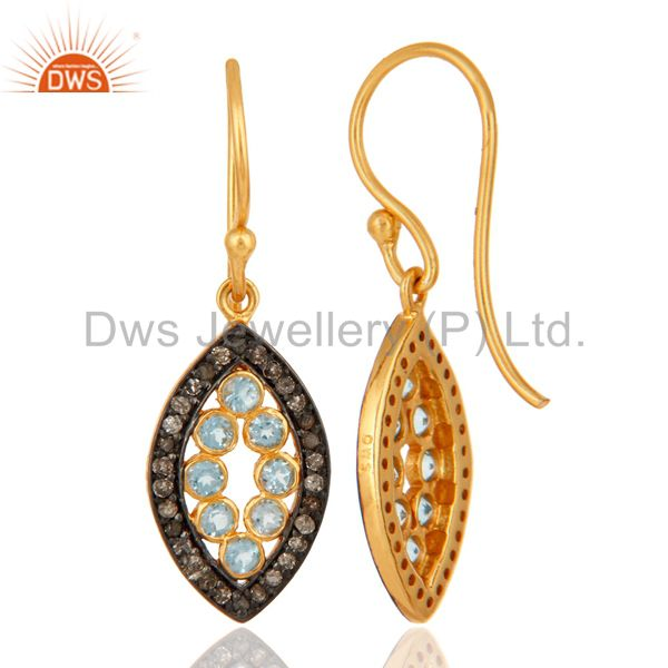 925 Sterling Silver Natural Blue Topaz Gemstone Pave Diamond Earrings From Jaipur India