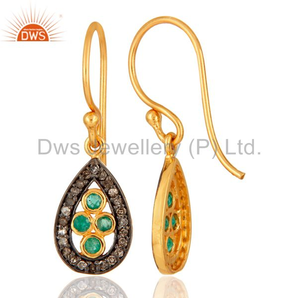 925 Sterling Silver Diamond Pave Emerald Gemstone Earring Fine Jewelry From Jaipur India