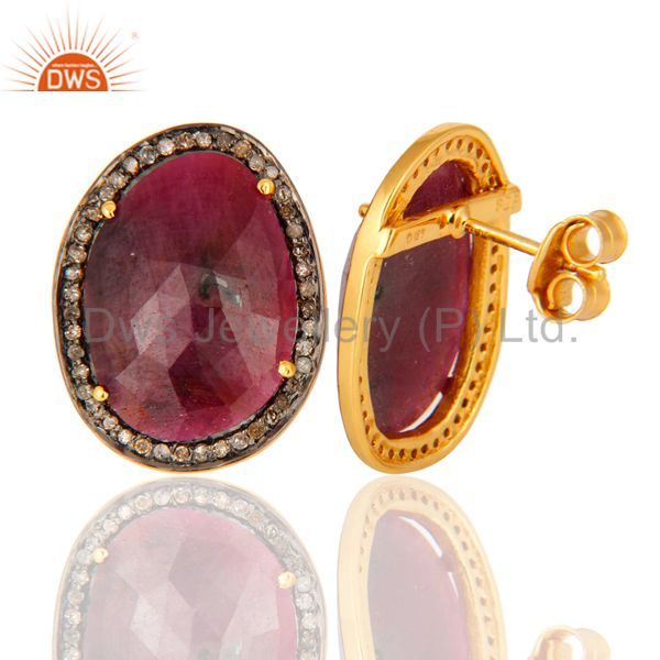 Glamorous Pave Diamond Sterling Silver Stud Earrings With Ruby Gemstone Jewelry From Jaipur India