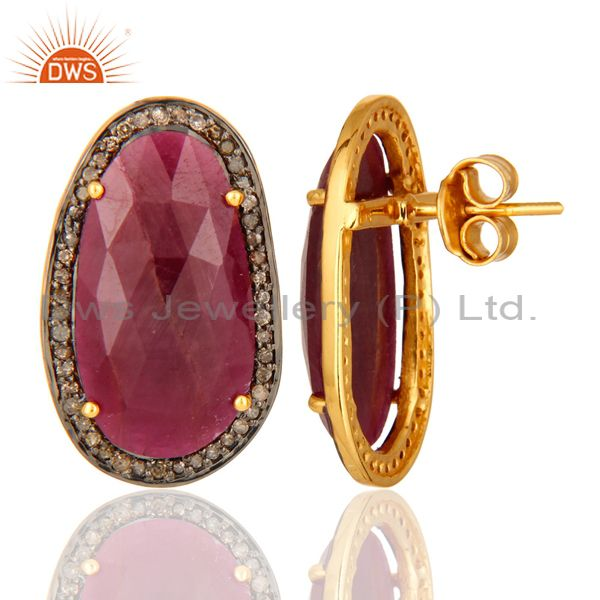 Pave Diamond Sterling Silver Precious Ruby Gemstone Stud Earrings Jewelry From Jaipur India