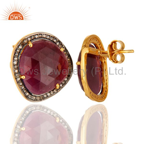 18K Gold Plated Sterling Silver Ruby Gemstone Stud Earrings With Pave Diamond From Jaipur India