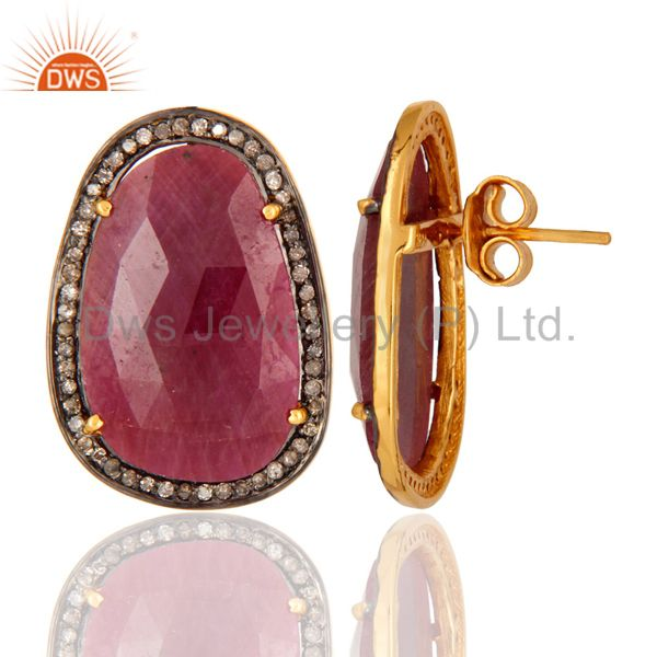 Natural Ruby Diamond Pave Sterling Silver Bridal Fashion Stud Earrings Jewelry From Jaipur India