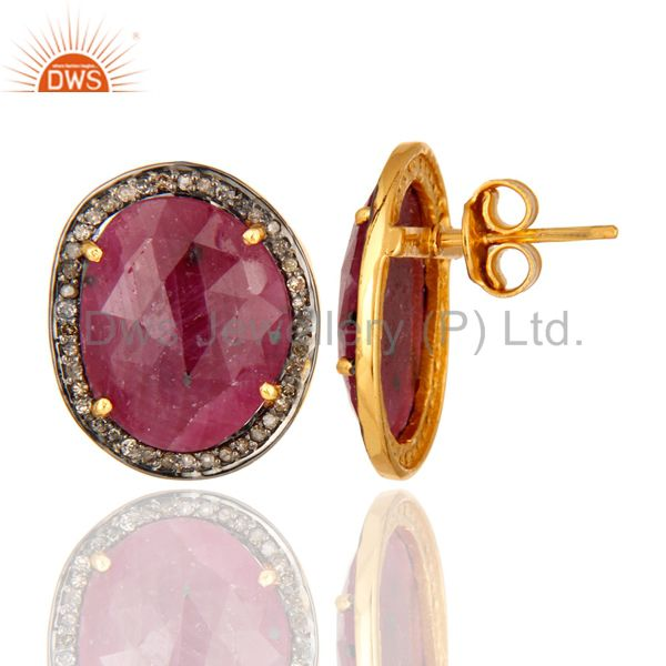 Handmade Ruby Stud Earrings Gold Plated 925 Silver Pave Diamond Fashion Jewelry From Jaipur India