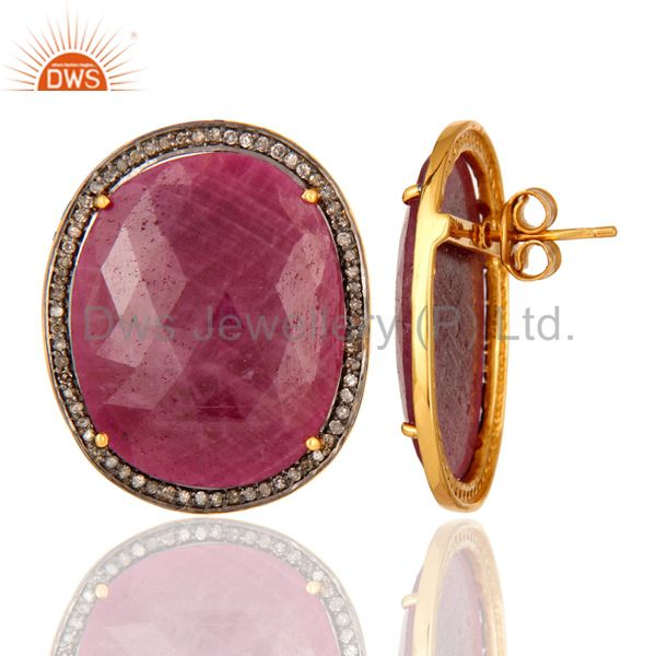 Handmade 925 Sterling Silver Ruby And Pave Diamond Womens Stud Earrings From Jaipur India