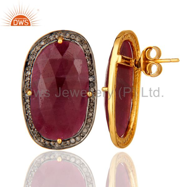 Handmade Sterling Silver Pave Diamond Real Ruby Gemstone Stud Wedding Earrings From Jaipur India