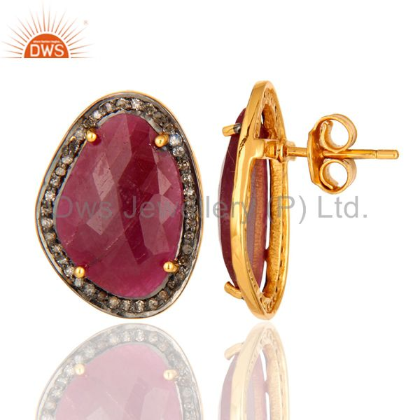 Antique Look Sterling Silver Diamond Pave Ruby Gemstone Stud Bridal Earrings From Jaipur India