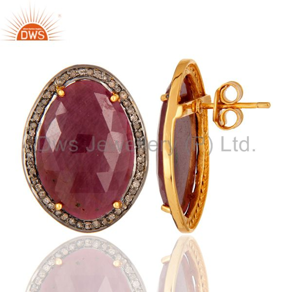 18K Gold Plated Sterling Silver Diamond Pave Ruby Vintage Look Stud Earrings From Jaipur India