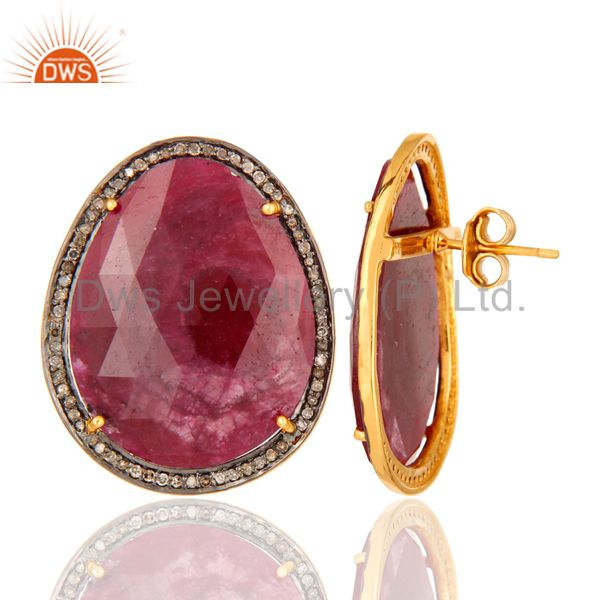 Natural Ruby Gemstone Pave Diamond Stud Earrings In 18K Gold On Sterling Silver From Jaipur India