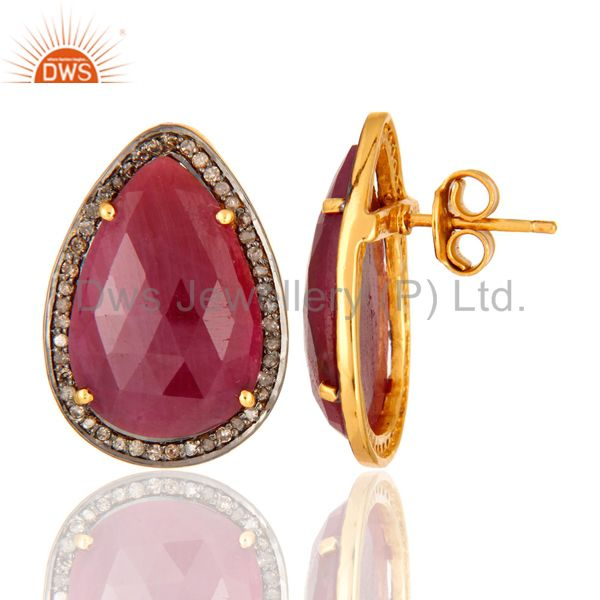 18K Yellow Gold Plated 925 Sterling Silver Pear Shape Ruby Diamond Earring Studs From Jaipur India