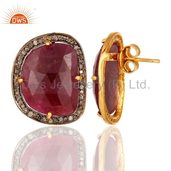 Womens Bridal Fashion Sterling Silver Pave Diamond Ruby Gemstone Stud Earrings From Jaipur India