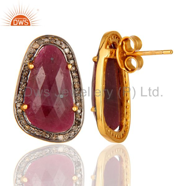 925 Sterling Silver Pave Diamond & Ruby Gemstone Antique Look Studs Earrings From Jaipur India