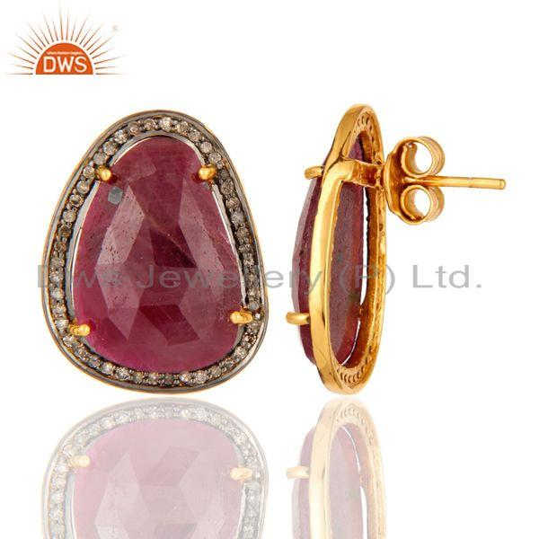 22K Gold Over Sterling Silver Faceted Gemstone Ruby Pave Diamond Studs Earrings From Jaipur India