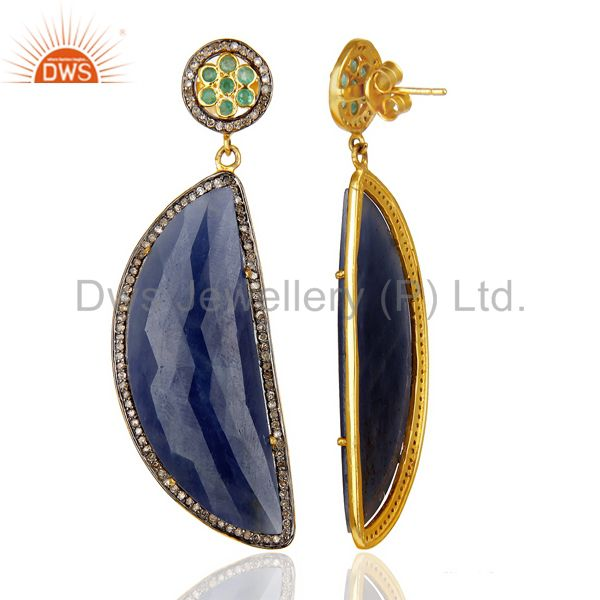 Natural Diamond Blue Sapphire D Shape 14K Gold Plated 92.5 Earrings From Jaipur India