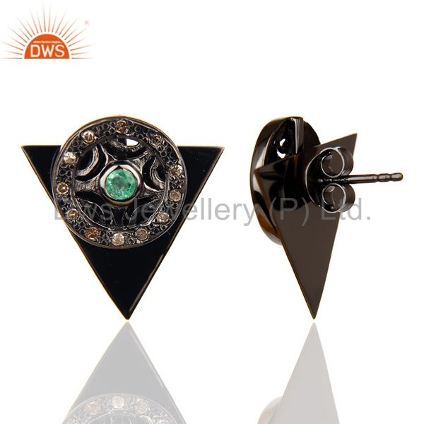 Natural Diamond Emerald Two Way Triangle Earring Black Rhodium Silver Earring From Jaipur India