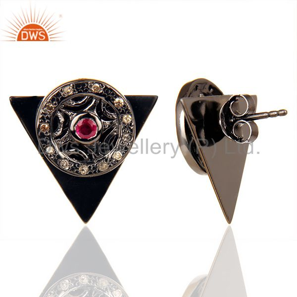 Natural Diamond Ruby Two Way Triangle Earring Black Rhodium Silver Earring From Jaipur India