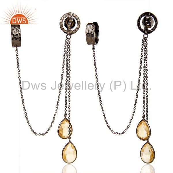 Natural Diamond Citrine Gemstone Black Rhodium 92.5 Silver Earcuff From Jaipur India