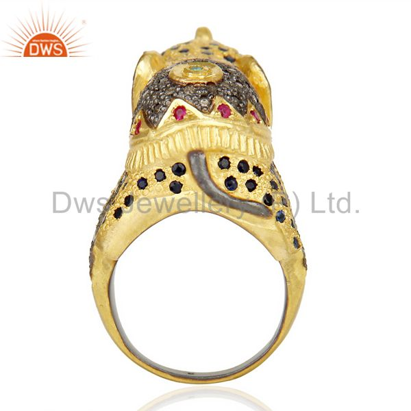 Top Selling 18K Gold Over Silver Emerald, Ruby And Sapphire Pave Diamond Elephant Ring