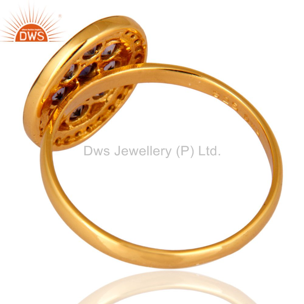 Top Selling 14K Gold Plated 925 Sterling Silver Pave Diamond Iolite Ring Wedding Jewelry