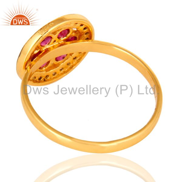 Best Quality Natural Ruby Pave Diamond Ring In 18K Yellow Gold Over Sterling Silver