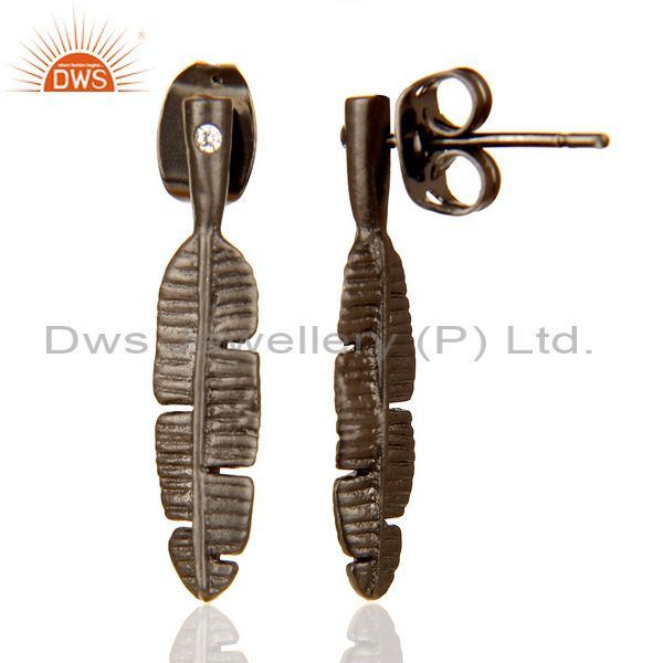 Banana Leaf Black Rhodium Plated Tiny Fashion Post Earring Wholesale India