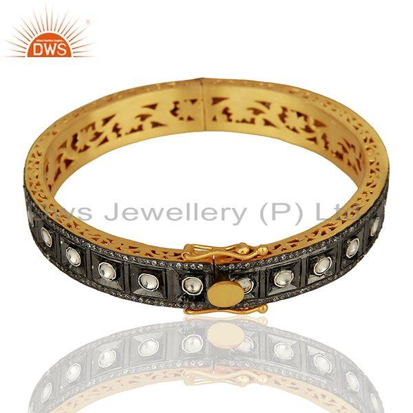 Wholesale 22K Yellow Gold Plated Sterling Silver CZ Crystal Polki Victorian Style Bangle In Jaipur