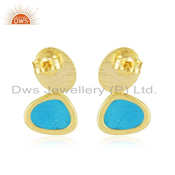 Blue Enamel Design 925 Silver Drop Earrings