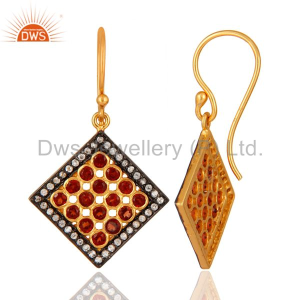 Handmade 18K Gold Over Silver White Topaz & Garnet Gemstone Earring Supplier Jaipur