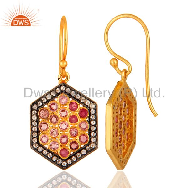 18K Gold Plated Silver White Topaz And Pink Tourmaline Dangle Earrings Manufacturer Jaipur
