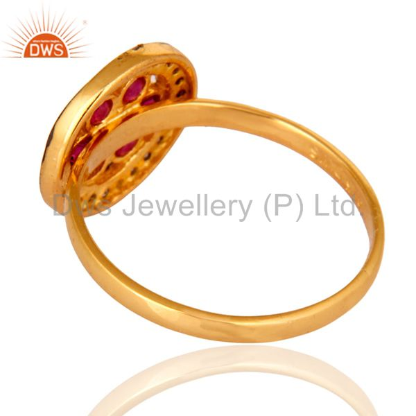 Best Quality 18K Yellow Gold Plated Sterling Silver Genuine Ruby And White Topaz Ring