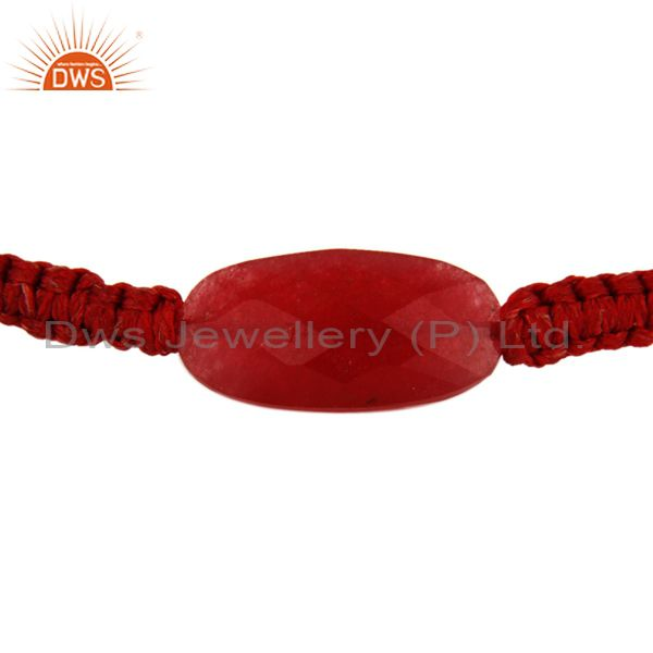 Indian Supplier of Natural Faceted Red Aventurine Gemstone Macrame Bracelet Gift Jewelry For Women