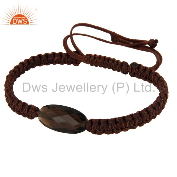 Indian Supplier of Handmade Faceted Smoky Quartz Gemstone Macrame Bracelet