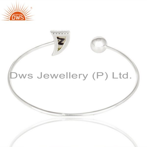 Indian Handmade Howlite Horn Openable Adjustable White Cz Studded 92.5 Sterling Silver Bangle