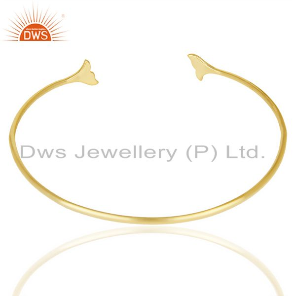 Indian Handmade Dolphin Tail Adjustable Openable 14K Gold Plated 92.5 Sterling Silver Bangle