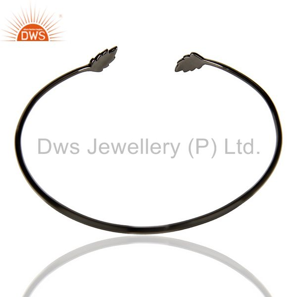 Indian Handmade Leaf Adjustable Bangle Black Rhodium Plated In Solid 92.5 Sterling Silver