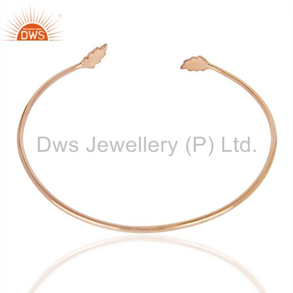 Indian Handmade Leaf Adjustable Bangle Rose Gold Plated In Solid 92.5 Sterling Silver