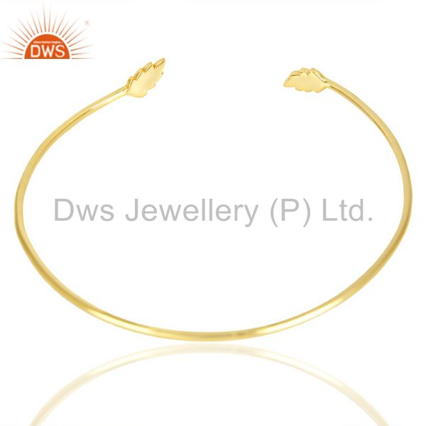 Indian Handmade Leaf Adjustable Bangle 14 K Gold Plated In Solid 92.5 Sterling Silver