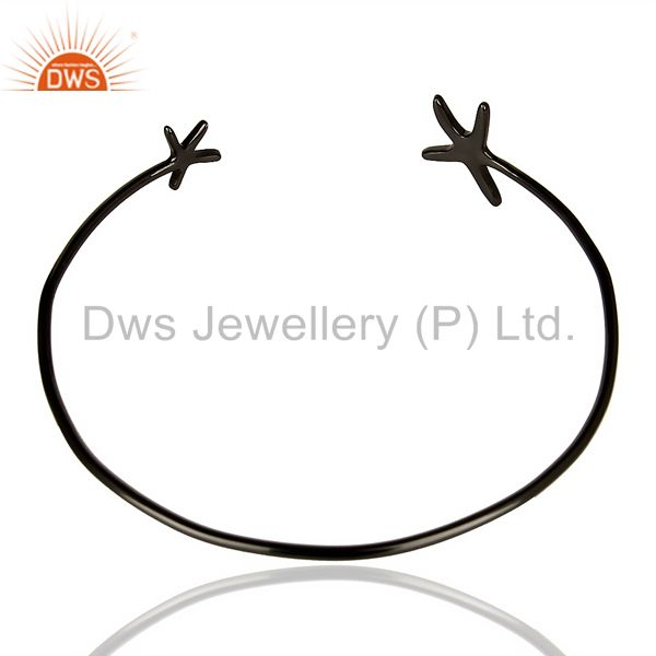 Indian Handmade Star Fish Bangle,Openable Adjustable Bangle Black Rhodium Plated In Solid Silver