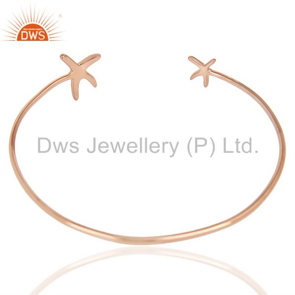 Indian Handmade Star Fish Bangle,Openable Adjustable Bangle Rose Gold Plated In Solid Silver