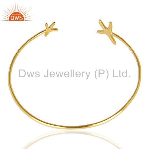 Indian Handmade Star Fish Bangle,Openable Adjustable Bangle 14K Gold Plated In Solid Silver