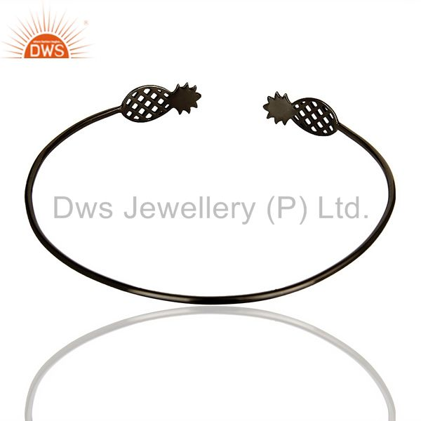 Indian Handmade Pineapple Openable Adjustable Cuff Bracelet Black Rhodium In Sterling Silver