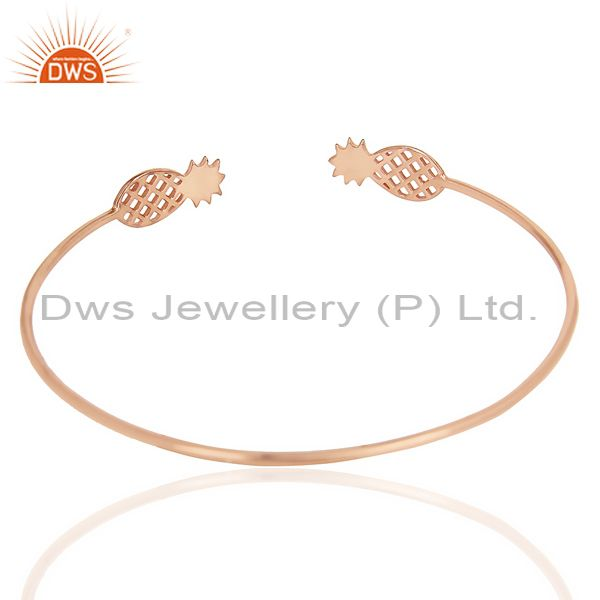 Indian Handmade Pineapple Openable Adjustable Cuff Bracelet Rose Gold Plated In Sterling Silver