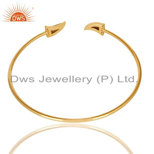 Indian Handmade Smoky Topaz Tooth Unisex Gold Plated Sterling Silver Openable Bangle